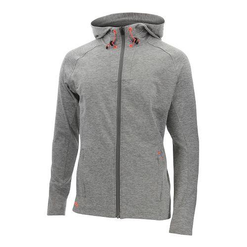 Mens 2XU Formsoft Long Sleeve Hoodie Casual Jackets - Moon Grey/Orange XL