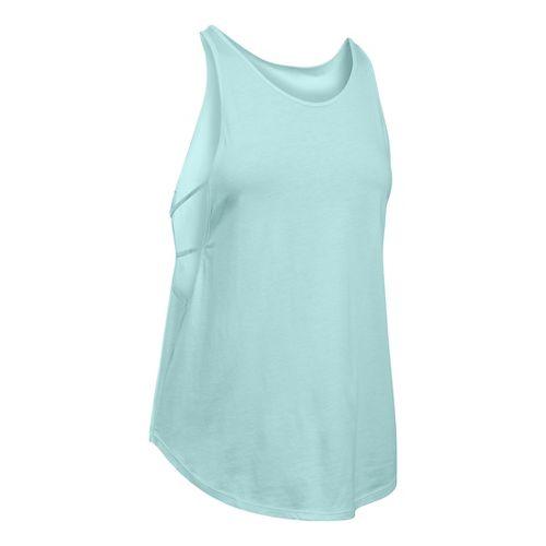 Womens Under Armour Cotton Modal Strappy Sleeveless & Tank Technical Tops - Aqua Falls/Seaport ...