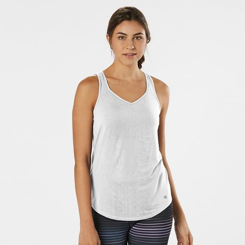 Womens Road Runner Sports Shades of Grey Burnout Sleeveless & Tank Technical Tops - White XS