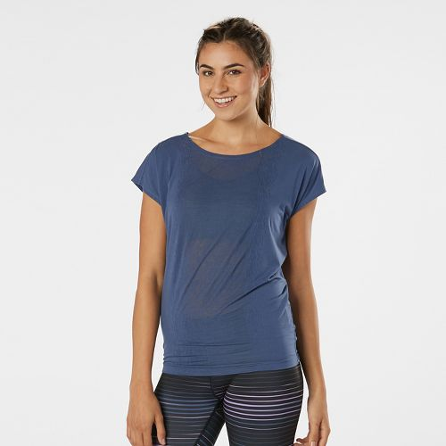 Womens Road Runner Sports Over the Top Short Sleeve Technical Tops - Storm Blue XS
