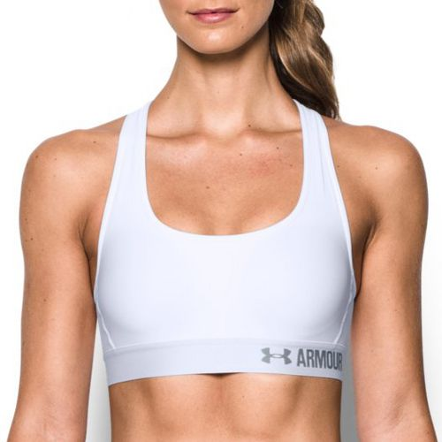 Womens Under Armour Mid Crossback Sports Bras - White XS