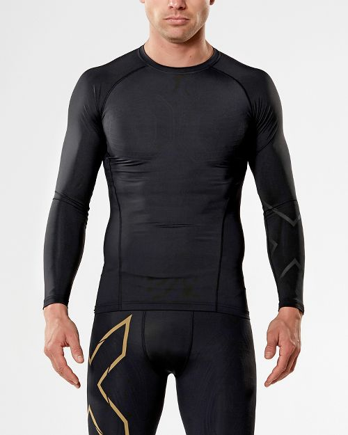 Mens 2XU MCS All Sport Compression Long Sleeve Technical Tops - Black/Nero M