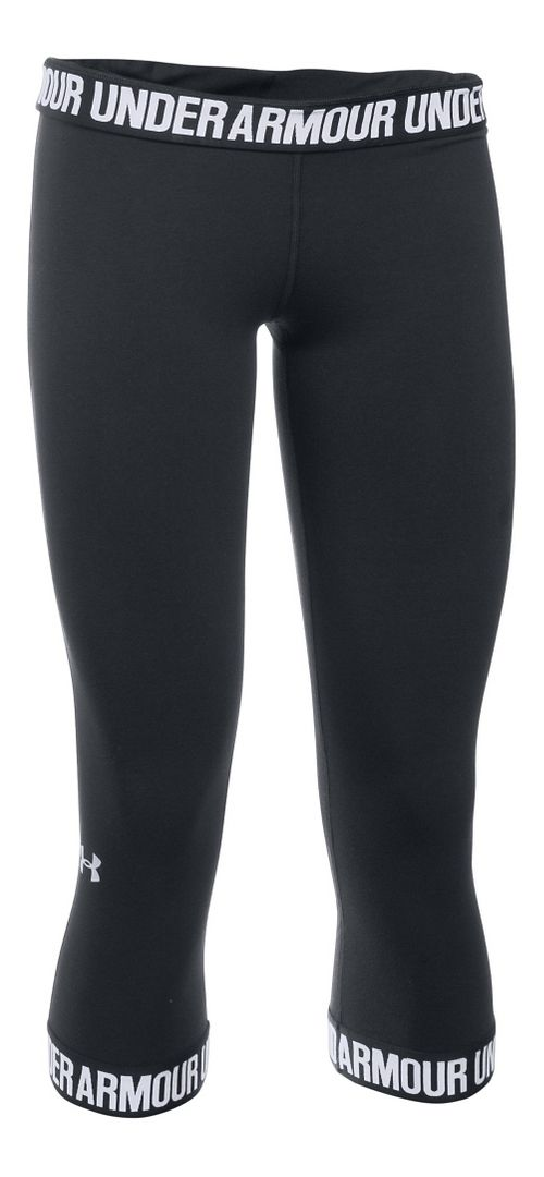 Womens Under Armour Favorite Wordmark Elastic Hem Capris Pants - Black/White M