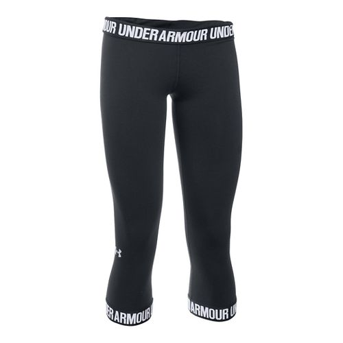 Womens Under Armour Favorite Wordmark Elastic Hem Capris Pants - Black/White L