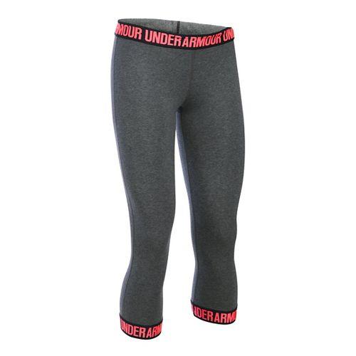 Womens Under Armour Favorite Wordmark Elastic Hem Capris Pants - Carbon/Brilliance M
