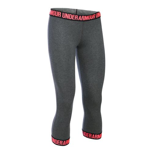 Womens Under Armour Favorite Wordmark Elastic Hem Capris Pants - Carbon/Brilliance XL