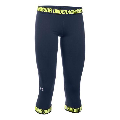 Womens Under Armour Favorite Wordmark Elastic Hem Capris Pants - Midnight Navy/Steel XL