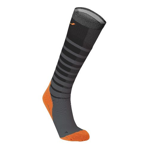 Mens 2XU Striped Run Compression Socks Injury Recovery - Black/Orange XL
