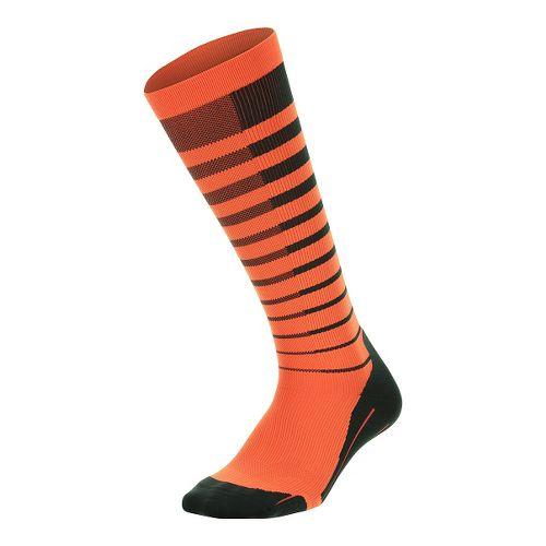 Mens 2XU Striped Run Compression Socks Injury Recovery - Titanium/Orange XL