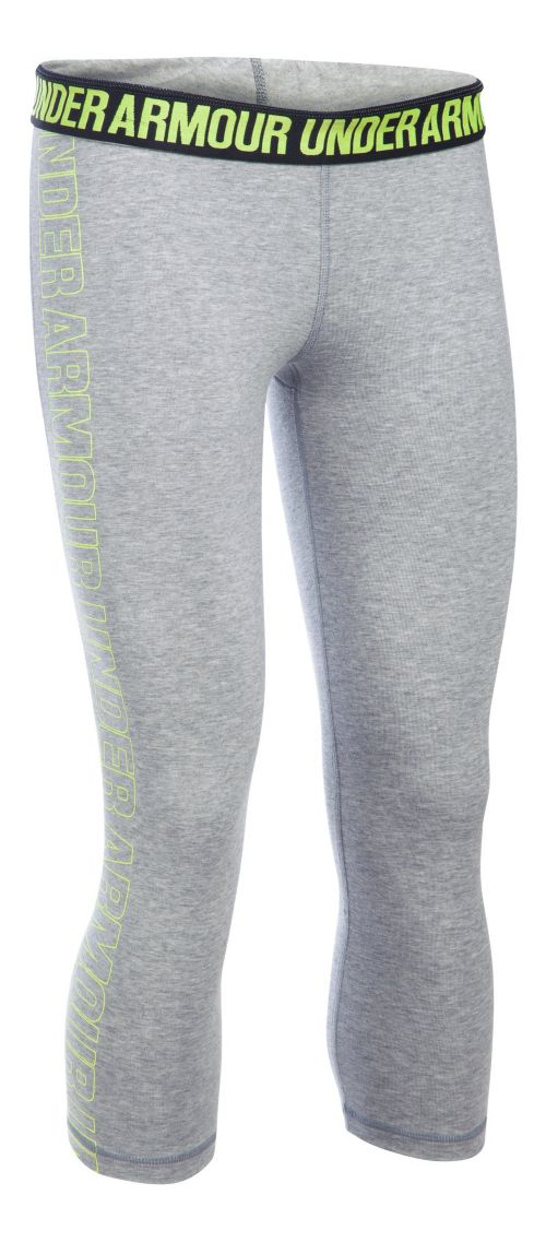 Womens Under Armour Favorite - Wordmark Graphic Capris Pants - Grey Heather/X-Ray XS