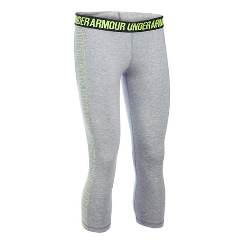Womens Under Armour Favorite - Wordmark Graphic Capris Pants - Grey Heather/X-Ray S