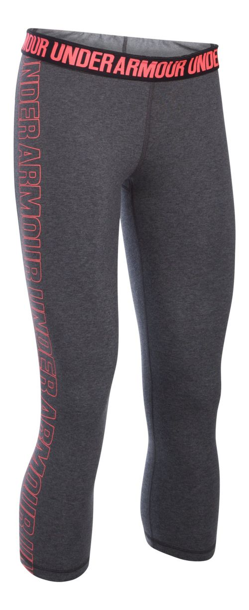 Womens Under Armour Favorite - Wordmark Graphic Capris Pants - Carbon/Brilliance M