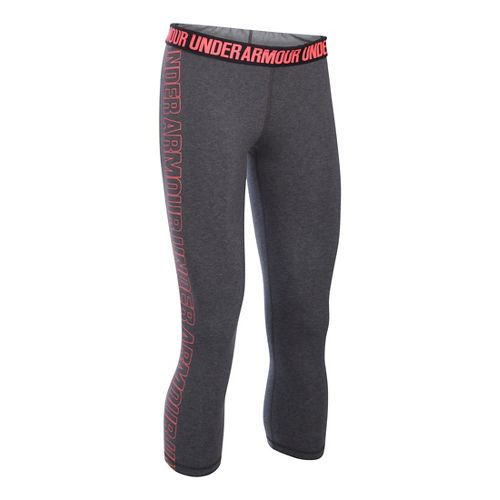 Womens Under Armour Favorite - Wordmark Graphic Capris Pants - Carbon/Brilliance S