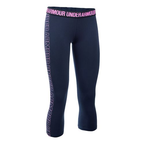 Womens Under Armour Favorite - Wordmark Graphic Capris Pants - Midnight Navy/Violet XS