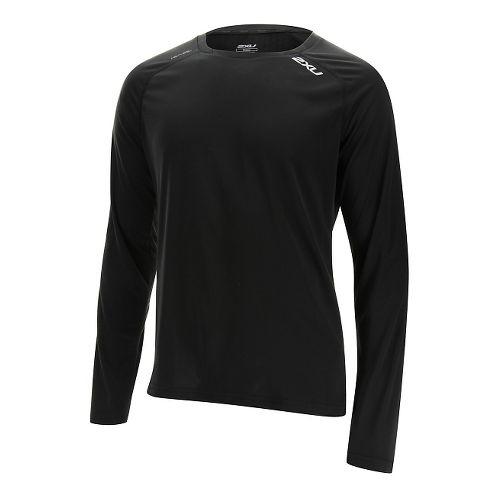 Mens 2XU Tech Vent Long Sleeve Technical Tops - Black/Black S