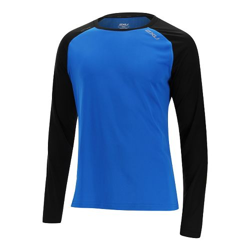 Mens 2XU Tech Vent Long Sleeve Technical Tops - Cobalt Blue/Black XL