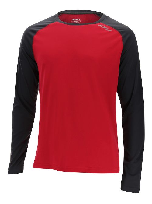 Mens 2XU Tech Vent Long Sleeve Technical Tops - Rio Red/Ink XXL