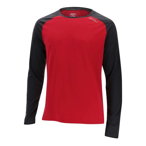Mens 2XU Tech Vent Long Sleeve Technical Tops - Rio Red/Ink S