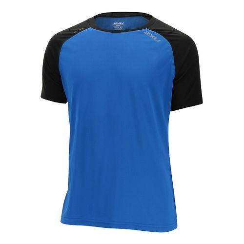 Mens 2XU Tech Vent Short Sleeve Technical Tops - Cobalt Blue/Black XL