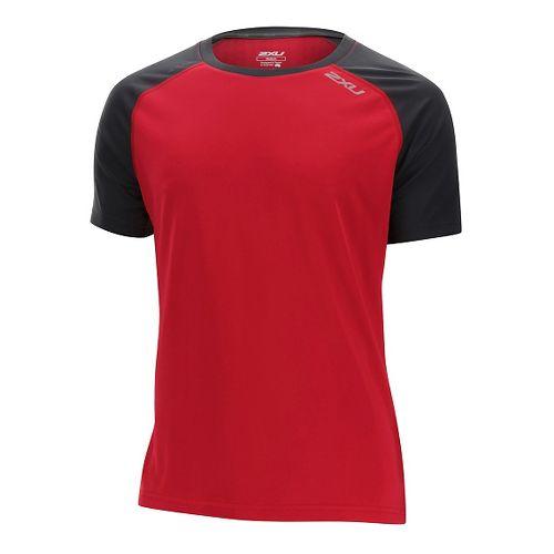 Mens 2XU Tech Vent Short Sleeve Technical Tops - Rio Red/Ink XL