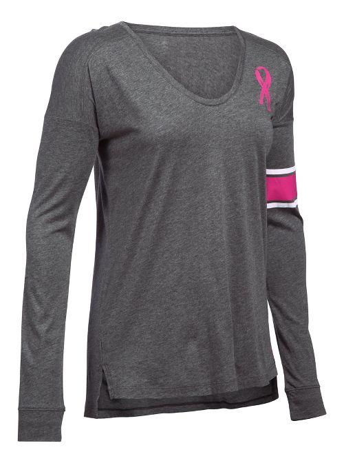 Womens Under Armour Favorite CM PIP Long Sleeve Technical Tops - Carbon Heather S