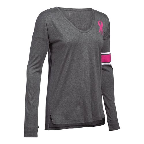 Womens Under Armour Favorite CM PIP Long Sleeve Technical Tops - Carbon Heather XL