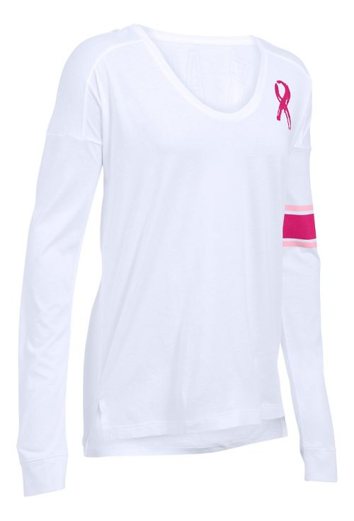 Womens Under Armour Favorite CM PIP Long Sleeve Technical Tops - White M