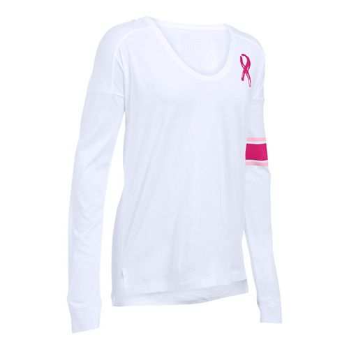 Womens Under Armour Favorite CM PIP Long Sleeve Technical Tops - White L