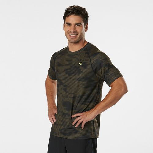 Mens Road Runner Sports Training Day Printed Short Sleeve Technical Tops - Olive Night/Black M