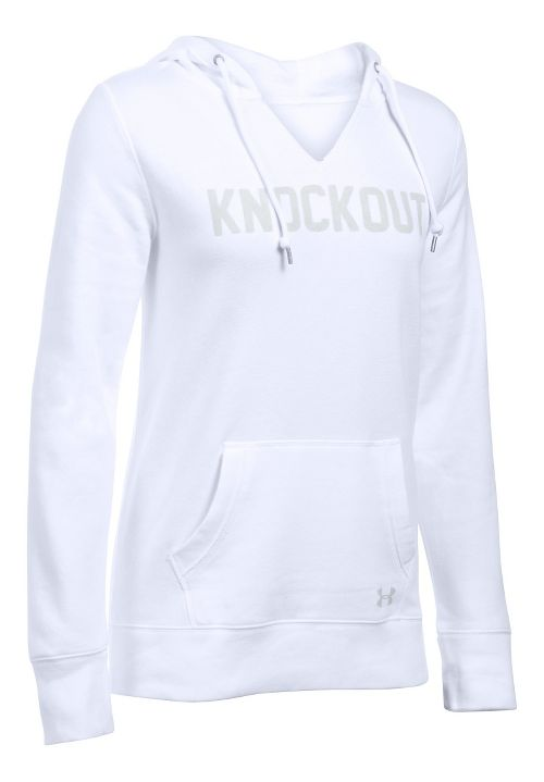 Womens Under Armour Favorite Fleece - Knockout Hoodie & Sweatshirts Technical Tops - White M