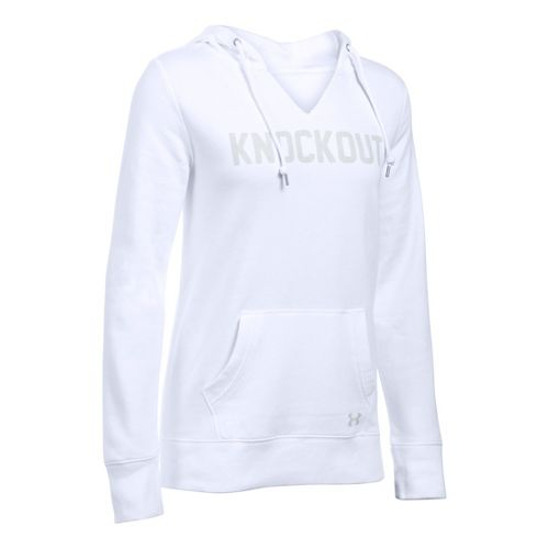 Womens Under Armour Favorite Fleece - Knockout Hoodie & Sweatshirts Technical Tops - White S ...