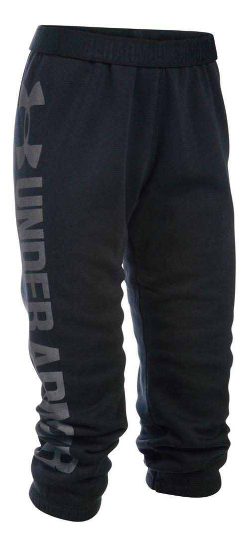 Womens Under Armour Favorite Fleece Capris Pants - Black/White S