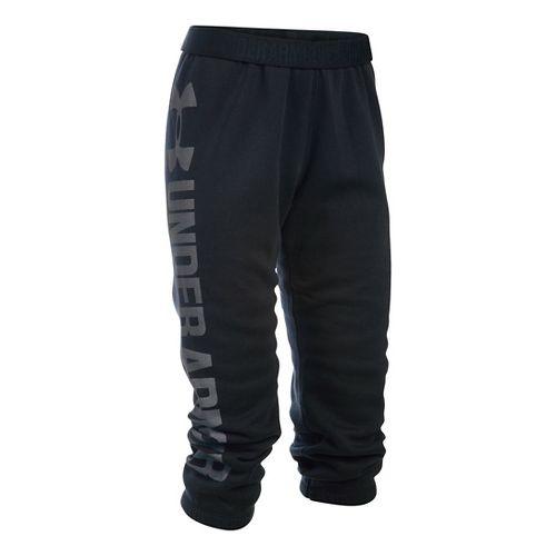Womens Under Armour Favorite Fleece Capris Pants - Black/White M