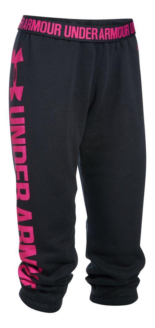 Womens Under Armour Favorite Fleece Capris Pants - Black/Tropic Pink M
