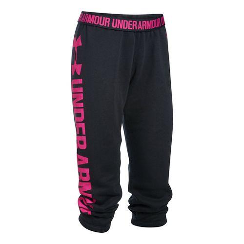 Womens Under Armour Favorite Fleece Capris Pants - Black/Tropic Pink XS
