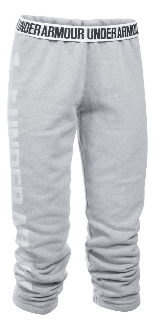 Womens Under Armour Favorite Fleece Capris Pants - White/Elemental M