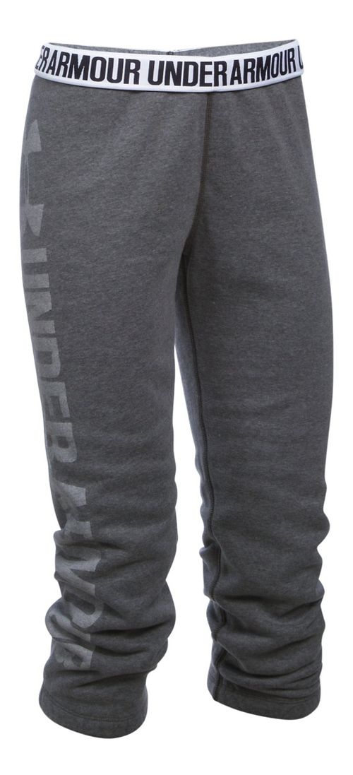 Womens Under Armour Favorite Fleece Capris Pants - Carbon Heather/White S