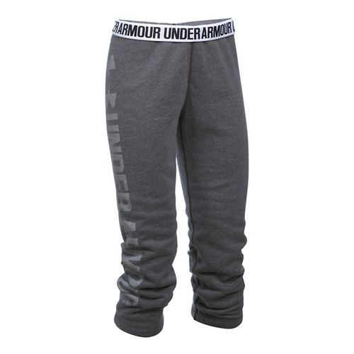 Womens Under Armour Favorite Fleece Capris Pants - Carbon Heather/White XXL