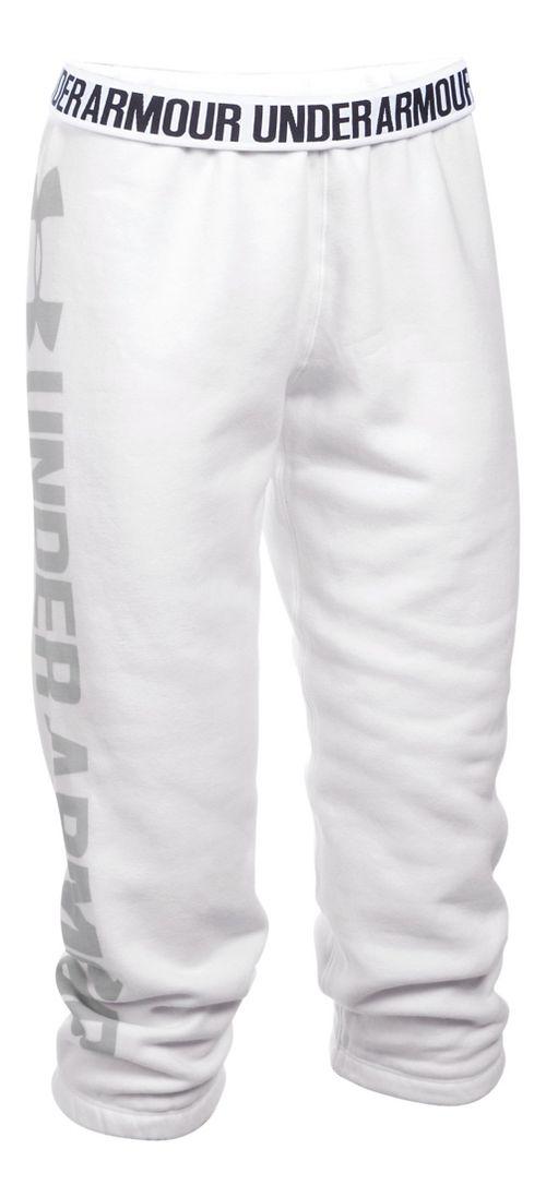 Womens Under Armour Favorite Fleece Capris Pants - White/Elemental S