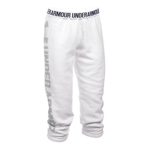 Womens Under Armour Favorite Fleece Capris Pants - White/Elemental L