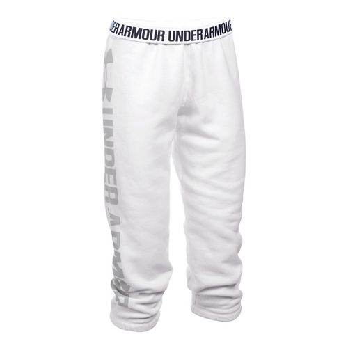 Womens Under Armour Favorite Fleece Capris Pants - White/Elemental XXL