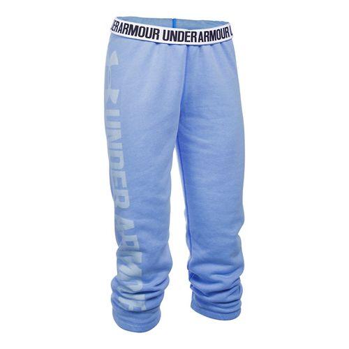 Womens Under Armour Favorite Fleece Capris Pants - Water/White XL