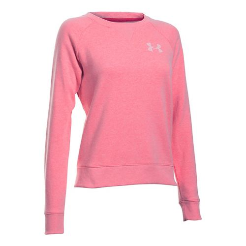 Womens Under Armour Favorite Fleece Crew Long Sleeve Technical Tops - Knock Out XS