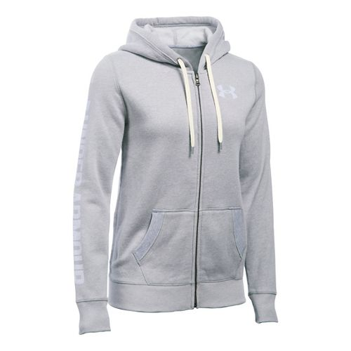 Womens Under Armour Favorite Fleece Full-Zip Hoodie & Sweatshirts Technical Tops - True Grey ...