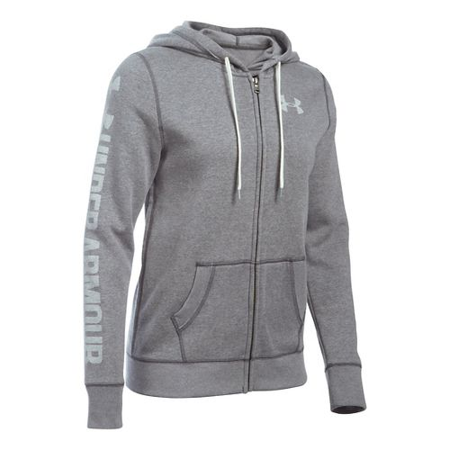 Womens Under Armour Favorite Fleece Full-Zip Hoodie & Sweatshirts Technical Tops - Carbon ...