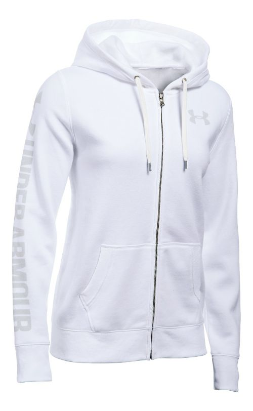 Womens Under Armour Favorite Fleece Full-Zip Hoodie & Sweatshirts Technical Tops - White M