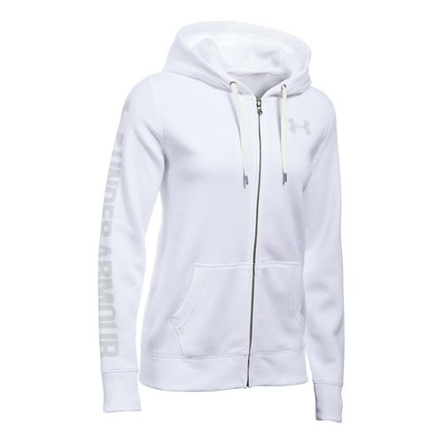 Womens Under Armour Favorite Fleece Full-Zip Hoodie & Sweatshirts Technical Tops - White XL