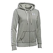 Womens Under Armour Favorite Fleece Full-Zip Hoodie & Sweatshirts Technical Tops - Downtown Green L