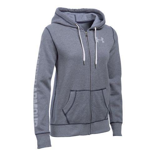 Womens Under Armour Favorite Fleece Full-Zip Hoodie & Sweatshirts Technical Tops - Midnight ...