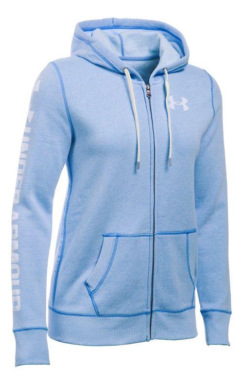 Womens Under Armour Favorite Fleece Full-Zip Hoodie & Sweatshirts Technical Tops - Water L